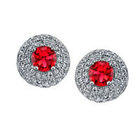 925 Sterling Silver Dome Stud Ruby CZ Earrings Cubic Zirconias Formal Pushbacks
