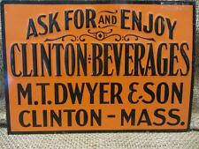 Vintage Embossed Clinton Beverages Sign > Antique Old Signs Soda Drink RARE 9444