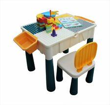Kids Table & Chair Desk Set Childrens Activity Play & Build Duplo Bricks - boxed