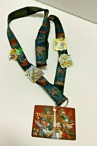Disney Parks Collection Pirates of the Caribbean Lanyard and 4 Pins