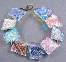"Teal Clear Ripple Fused Glass 3/4"" Dichroic Link Bracelet Blue Green Pink Peach"
