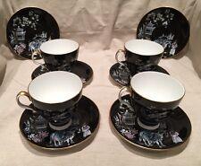 Retro Vintage Royal Albert NERO ORIENTAL PAGODA Crane & Cavallo tazze e piattini