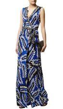 $598 Diane Von Furstenberg Orchid silk wrap maxi dress * Vibrant Blue MUlti * 2