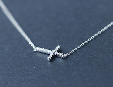925 Sterling Silver Sideways CZ Cross Charm Pendant Necklace Women A2363