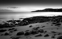 Black And White Sand Beach Landscape Wall Art Large Poster & Canvas Pictures