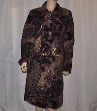 Newport News Long Suede Leather Coat Size 16 Holidays Purple Gold Black Jacket