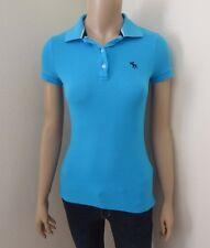Abercrombie Femme Vintage Polo TAILLE XS Bleu Turquoise Haut Extensible