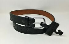 "Bianchi® B12 Fancy Stitched Gun Dress Belt 1.5"" Black Leather, Chrome Buckle 38"""