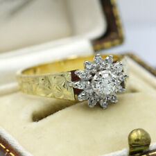 Antique Heavy 18ct Yellow Gold, 0.28ct Diamond Ring Size O'