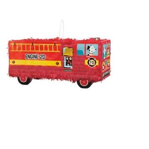 Red Fire Truck Fire Engine 3D Pinata Birthday Party Toy