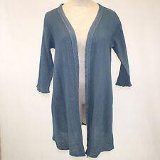 NWT Kai Moon Handmade in USA Mallard Blue Cotton Bamboo Open Duster Blouse 2X