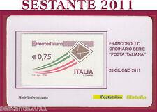 TESSERA FILATELICA FRANCOBOLLO ORDINARIO SERIE POSTA ITALIANA 2011 Q41