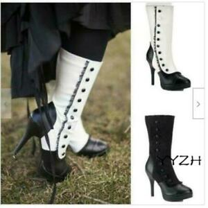 Women's steampunk Lace Gothic Lolita Leather High Heels Boots Cosplay Costume