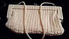 Dress Ruched Handbag With GENUINE PEARL REMOVEABLE STRAP, BECOMES NECKLACE!