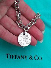 Tiffany & Co Notas Nueva York Redondo Placa Pulsera plata ley 19.1cm