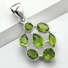 CLUSTER GREEN PERIDOT 925 STERLING SILVER DROP NECKLACE PENDANT Length 1 3/4""