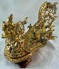 Antique Thai or Burmese Handmade Mythical Bird Box Tin & Wood Mirrored Inlays