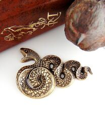 ANTIQUE BRASS Large Serpent SNAKE Stamping ~ Jewelry Oxidized Finding  (C-503)