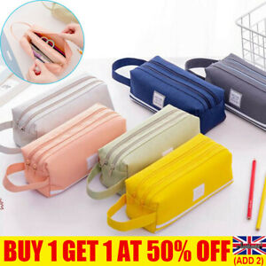 Large Capacity Double Zip Fabric Pencil Case Back To School College Make Up Bags