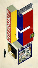 Newspaper Kiosk, 1924 by Herbert Bayer Vintage Bauhaus Repro Canvas Print 18x32