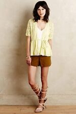 Anthropologie Knitted & Knotted Yellow Lace Stitch Cardigan Sweater L