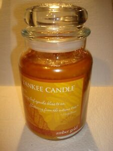 YANKEE CANDLE AMBER GOLD   JAR  CANDLE  22OZ   ~NEW~
