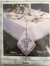"""72"""" x 90"""" OVAL HAND MADE/EMBROIDERED BATTENBURG TABLECLOTH W/NAPKINS  MAKE OFFER"""