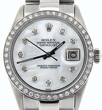 Rolex Datejust Men Stainless Steel White MOP Diamond w/ President Style Bracelet