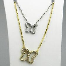 Sehr schönes 750er Weiss/Gelbgold Collier mit Kristall Schmetterlinge - B681