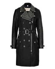 Burberry Brit Trenchcoat Schwarz , Burberry Brit Leather Sleeve & Studded Trench