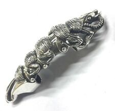 "Heavy Sterling Silver Folding Armor Knuckle Ring 4"" Medieval Sz9 Caterpillar"