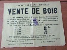 AFFICHE CHARENTE MARITIME TONNAY BOUTONNE VENTE BOIS 1913   31X42
