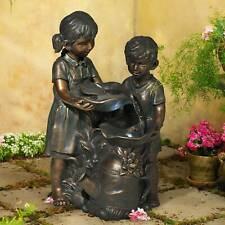 """Outdoor Floor Water Fountain with Light LED 23"""" Boy and Girl for Yard Garden"""