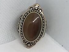 Large Navajo Sterling Silver Oval Agate Native American Size 8 Ring