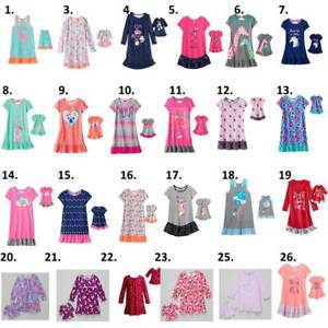 """Girl 4-14 and 18"""" doll matching nightgown pajamas fit dollie me American girls"""