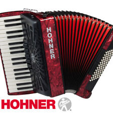 Hohner Piano Accordion BR72R-N Bravo III 72, Pearl Red, with Gig Bag & Straps