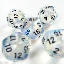 Set of 5 D20 Chessex Dice - Borealis Aquerple w/ Black - Out of Print- Very Rare