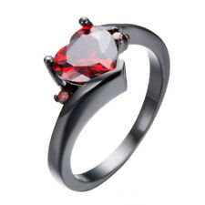 Heart Shaped Red Zircon Black Gold Filled Silver Women Jewelry Ring Size 10