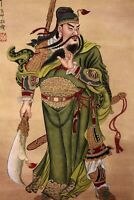 STUNNING ORIGINAL ASIAN ART CHINESE FAMOUS WATERCOLOR PAINTING-Guangong War King