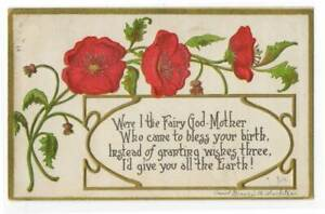 021821 LOVELY ART NOUVEAU A/S BISHOP BIRTHDAY GREETINGS POSTCARD POPPIES