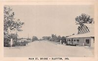 BLUFFTON INDIANA MAIN STREET BRIDGE NATIONAL PRESS  POSTCARD c1950s CHECKERBOARD