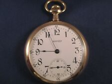 """12 SIZE OPEN FACE """"EQUITY"""" POCKET WATCH, BOSTON 7 JEWELS GOLD FILLED CASE"""