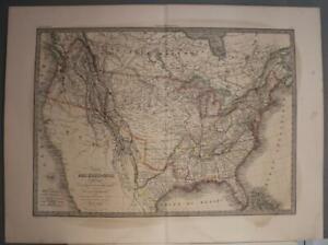 UNITED STATES & REPUBLIC OF TEXAS 1838 LAPIE UNUSUAL ANTIQUE COPPER ENGRAVED MAP