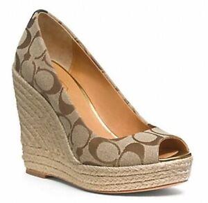 Coach Women's Milan Peep Toe Signature Wedge Heels Platform Espadrille Shoes 7.5