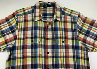 KAVU Mens Shirt Size L Short Sleeve Button Front Colorful Plaid Pockets