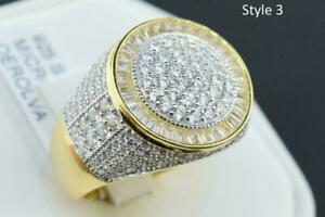 14K Gold Plated Sterling Silver Iced Flashy Bling Fashion Pinky Ring Style 5