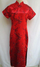 Vtg 80s..TRADITIONAL..RED..ASIAN..CHEONG-SAM..MAXI..LONG..DRESS..sz S