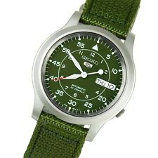SEIKO Men SNK805 SEIKO 5 Automatic Green Cloth Band Retail $185 US Original Box