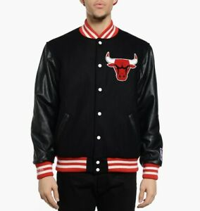 New Mitchell & Ness Authentic NBA Jackets Chicago Bulls Varsity Leather Wool LG