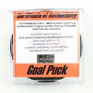 2019-20 Scott Laughton Philadelphia Flyers Game-Used Goal-Scored Puck -Playoffs!